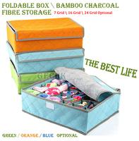 High-Quality 3pcs/lot Foldable Box/Bamboo Charcoal Fibre Storage Box For Bra,Underwear,35*27*11 Storage Boxes Bins Free Shipping