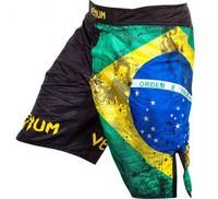 "VENUM ""BRAZILIAN FLAG"" FIGHTSHORTS - BLACK  QUALITY COMBAT BOXING MMA TRAINING BJJ KICKBOXING Muay Thai"