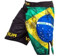 "VENUM ""BRAZILIAN FLAG"" FIGHTSHORTS - BLACK  QUALITY COMBAT BOXING MMA TRAINING BJJ KICKBOXING Muay Thai"