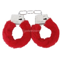 New 2015 Brand New Fluffy Metal Red Shackles with Keys Adult Novelty Gift