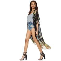 free shipping Flower perspectivity print chiffon  cardigan kimono type no button chiffon shirt women fashion chiffon cardigan