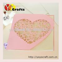 HEART handmade wedding invitation card PINK