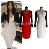 2014 New Women Elegant Slim Long Sleeve Zipper Formal Party Bodycon Pencil Knee-Length Dress Plus Size XS-XXL