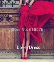 2014 Unique Evening Gowns One Shoulder Side Slit Vestidos Chiffon Red Prom Dresses