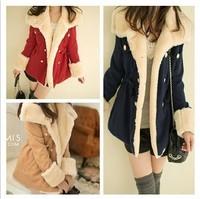 2014 women's plus size slim double breasted wool preppy style coat fur winter jacket girls coat outwear