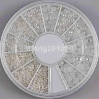 2mm 3mm 4mm 3 Sizes Half Round White Pearl Beads Nail Rhinestone Wheel Nail Art Decoration Beauty Tools Jewellery