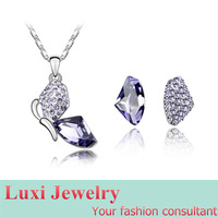 Butterfly Luxury  Crystal Jewelry Set Necklace Earring Set Fashion European Statement Jewelry 2014