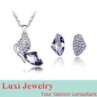 Butterfly Luxury  Crystal Jewelry Set Necklace Earring Set Fashion European Statement Jewelry 2014
