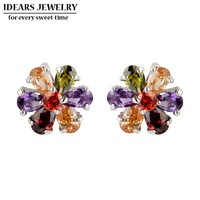 IDEARS Free shipping.18K Gold Plated Star Drop Earrings flower with Multicolor Zircon For Women Luxury ID00096