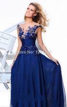 Free Shipping 2014 New Empire A-Line Floor-length Evening Dress Slim Chiffon Long Party /Prom Dresses(China (Mainland))