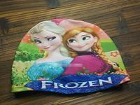 The Summer Children Swimming Caps Shower Caps Cartoon Frozen Printed Elsa Anna Bathing Cap Free Shipping
