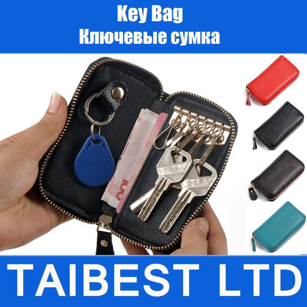 llave del coche cartera monedero bolsa de ama de llaves de la pu de cuero para hombres y mujeres