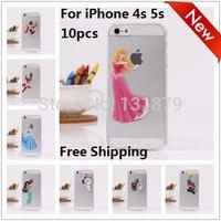 10pcs/lot Princess Snow White Frozen Elsa Mermaid Ariel Cinderella Rapunzel Jasmine Logo Clear Cover For iPhone 4 4S 5 5S