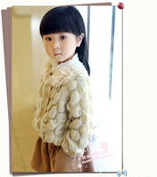 2014 New Arrival Korean Style Girls swear Outwears Knitting Petals Round Neck Sweater Cardigan Coat Free Shipping