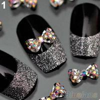 10pcs Nail Art Tips Stickers Deco Bow Knot Alloy Jewelry Multicolor Glitter Rhinestone nail gel 05LK