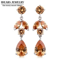 IDEARS Free shipping.18K Gold Plated Star Drop Earrings flower with Multicolor Zircon For Women Luxury ID000101