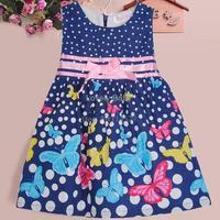 Top Fashion 2014 new baby girl dress Dot Butterfly dress Vest dress bow belt dress party Birthday Gift b14 SV005503