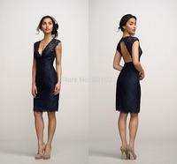 2014 elegant design v neck knee length ruffles navy blue lace sexy bridesmaid dresses