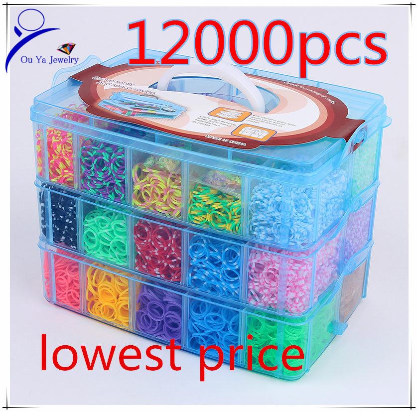 12000pcs Crazy and fun Rubber Loom Band Kit Kids DIY Bracelet Silicone Loom Bands 3 layers PVC Box Family Loom Kit Set Refills(China (Mainland))