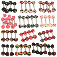 10pcs/lot Fashion Body Jewelry Tongue Piercings Piercing Tongue Stainless Tongue Rings Barbells Mix Color