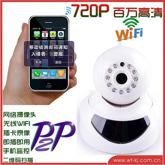CMOS 720p P2p Function Wifi IP camera H264 with alarm optional(China (Mainland))