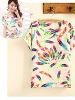 New Fashion Color 2014 Women Ladies Chiffon Tops Blouse Summer T- Shirt