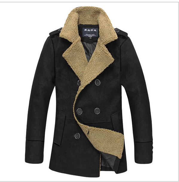 High quality in winter to keep warm male men cashmere trench coat coat plus size clothing men's wool coat 3xl 4xl 5xl(China (Mainland))