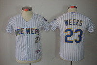 Cheap Women`s Milwaukee Brewers #23 Rickie Weeks Lady Female Baseball Jerseys for woman Embroidery Logos S-XXL