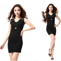 Summer Black Sexy Mini Dresses Womens Stretch Evening Party Casual Lace Dress Hollow Out Slim Bodycon Pencil Dress Plus Size XXL