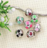 60pcs New Dull Silver Football Metal Big Hole Beads 11mm 4mm Hole Fit European Charm Bracelet 6Colors