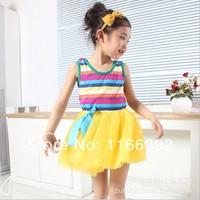 2014 Summer Girl Puffy Dancing Clothing Princess Tutu Dress Rainbow Striped Dress Kids Clothing Free & Drop Shipping