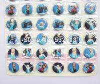 Fashion Decorative Pattern New Arrival! 30mm 2 Sheets 96 Pcs Frozen Badge Button Fashion Pin Badge Free Shipping!