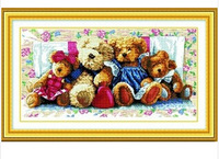 Bear family cross-stitch kit Handmade DIY cross stitch sets stitching embroidery kits craft needlework wall home decoration
