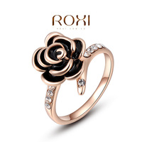 Roxi jewelry austria crystal rose gold black rose ring  2010229200