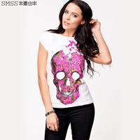 New 2014 fashion women t shirt white short sleeved Rose skull print T-shirt Slim cotton women clothing plus size XXL