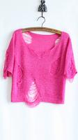 2014 women's trend candy color hole cutout shirt short design women's sweater