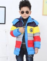 Free shipping/ Stripe down cotton-padded jacket boy warm cotton-padded clothes with thick coat