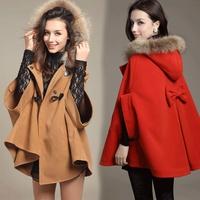 2014 spring women's wool fur collar wool coat loose cloak woolen outerwear
