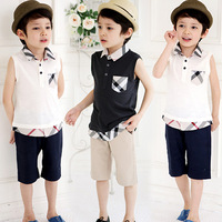 Free shipping 2014 summer new children's clothing Boys short-sleeved plaid leisure suit Children's suit Tops lapel