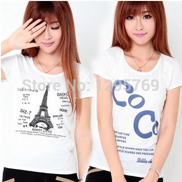 2015 Summer New Women Clothing Cotton T shirt Tops Round Neck Casual T-Shirt FA042, Free Shipping(China (Mainland))