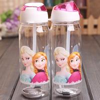 Water Bottle 450ml Drink Bottle Princess Elsa & Anna Cartoon Frozen Bottles Straw Type Frozen Kettle 10pcs/lot