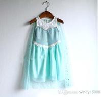 2014 Special Offer Hot Sale Regular Character Lolita Style Summer Girls Frozen Princess Elsa Dress Party With Tail Queen Chiffon