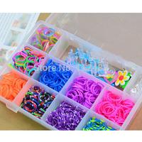 DIY Colorful Loom Bnads Randomly color BANDS Kit Bracelet Set plastic box