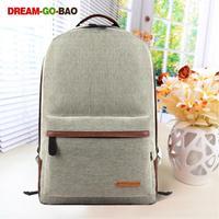 "New 2014 simple Linen solid 7 colors school bag women backpack men travel bags 43*30cm for 14""laptop"