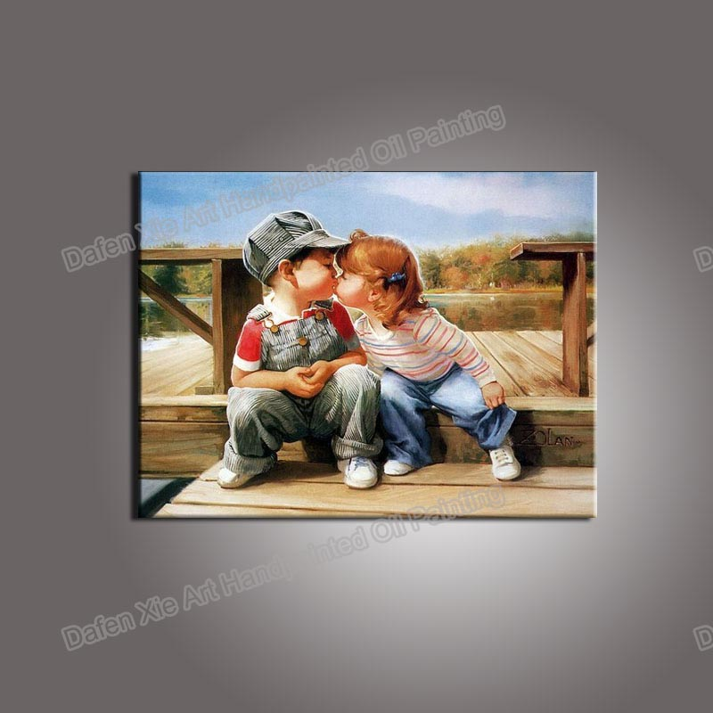 Child Bedroom Decoration Handpainted Portrait Boy Girl Children canvas Oil Painting Childhood Paintings -Boy kisses Girl(China (Mainland))