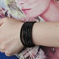 Fashionable Adjustable Button Mix-color Crystal Wrap Leather Rhinestone Bracelets SB340