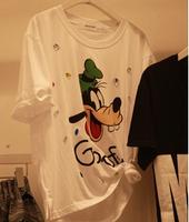 2014 Brand Designer Dongguk purchasing 2014 summer Korean t-shirt Bobu Cartoon Dog printing large size women  t-shirt Free ship