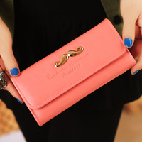 2014 Hot Sale New Fashion Promotion Lady Girl PU Zipper Purse Wallet Bag Handbag Moustache Candy Colorful Wholesale Retail C0553