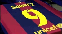 New 14/15 Barcelonas Home #9 LUIS SUAREZ Red Blue 2014/15 Cheap Soccer Uniforms Football kit
