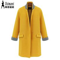 Winter fashion women's 2014 solid color medium-long wool slim wool coat outerwear